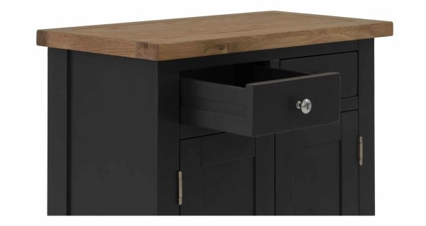 Besp-Oak Vancouver Compact Black Grey Extra Small Sideboard 2 Drawer 2 Door | Fully Assembled