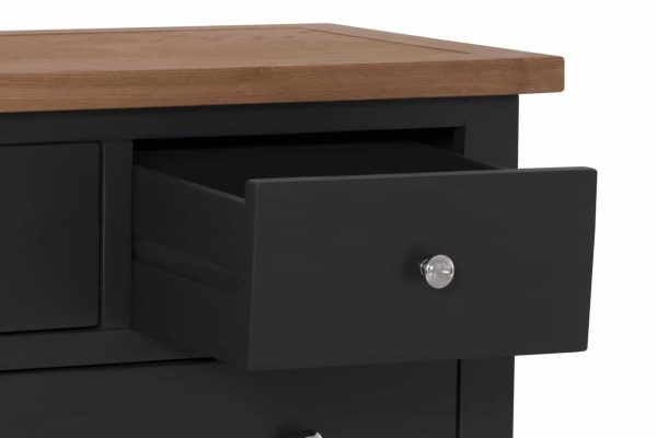 Besp-Oak Vancouver Compact Black Grey 2 over 3 Drawer Chest | Fully Assembled