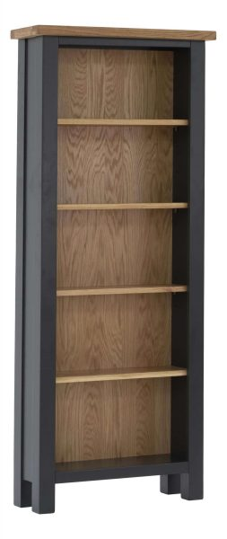 Besp-Oak Vancouver Compact Black Grey Tall Bookcase with 5 Adjustable Shelves | Fully Assembled