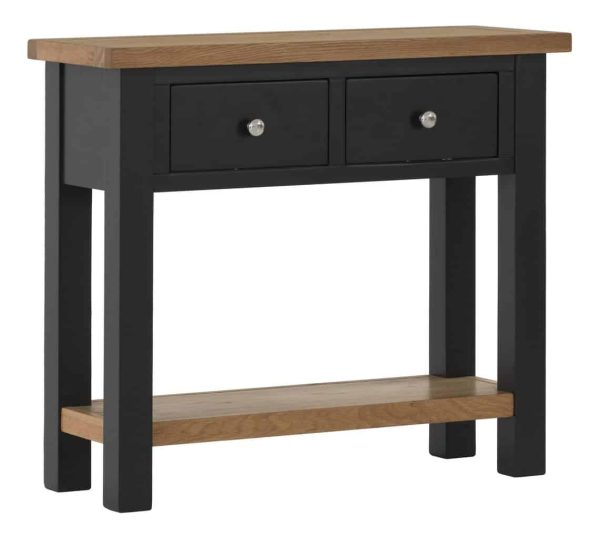 Besp-Oak Vancouver Compact Black Grey Console Hall Table 2 Drawers