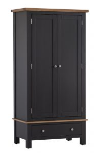 Besp-Oak Vancouver Compact Painted Black Grey Double Wardrobe with 1 Drawer