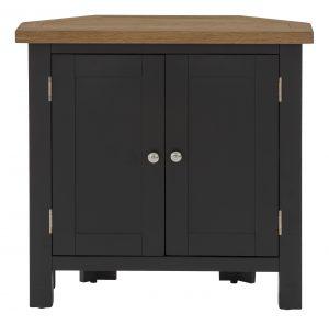 Besp-Oak Vancouver Compact Black Grey Corner Cupboard 2 Doors | Fully Assembled