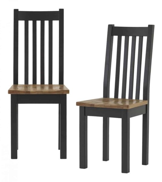 Besp-Oak Vancouver Compact Black Grey Dining Chair with Timber seat (Pair) | Fully Assembled