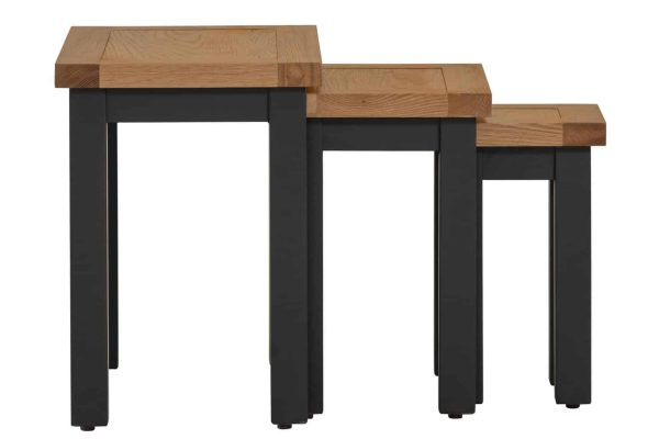 Besp-Oak Vancouver Compact Black Grey Nest of 3 Tables | Fully Assembled