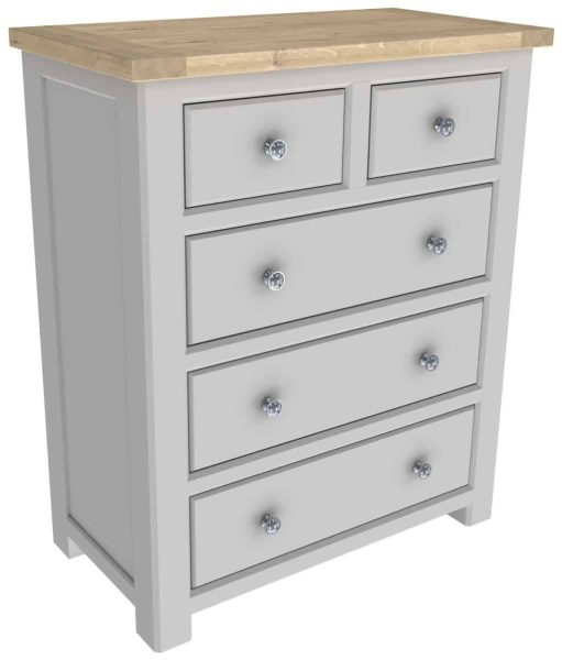 Bretagne Painted 2 over 3 Drawer Chest | Fully Assembled