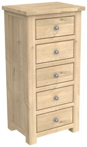 Bretagne Oak 5 Drawer Tall Wellington Chest | Fully Assembled