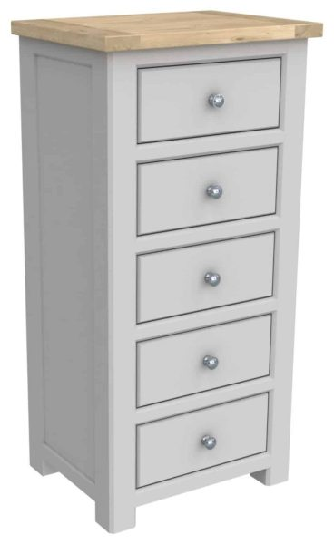 Bretagne Painted 5 Drawer Tall Chest | Fully Assembled