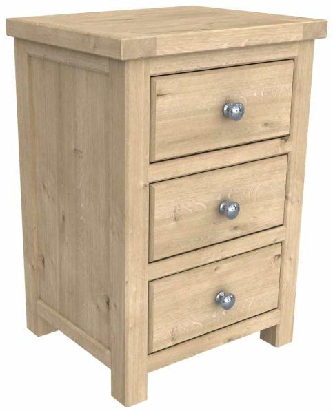 Bretagne Oak 3 Drawer Bedside Cabinet | Fully Assembled