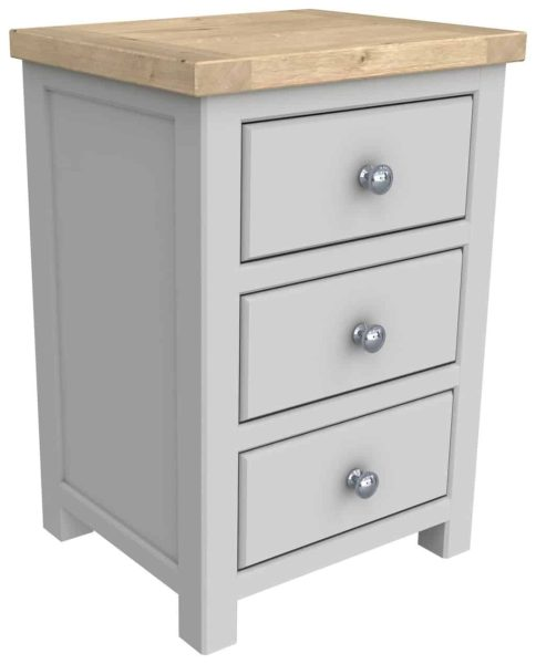 Bretagne Painted 3 Drawer Bedside Cabinet | Fully Assembled