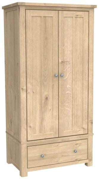 Bretagne Oak Gents 2 Door 1 Drawer Wardrobe