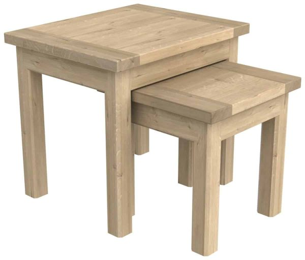 Bretagne Oak Nest of Tables | Fully Assembled