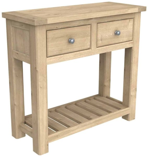 Bretagne Oak 2 Drawer Console Table With Shelf | Fully Assembled