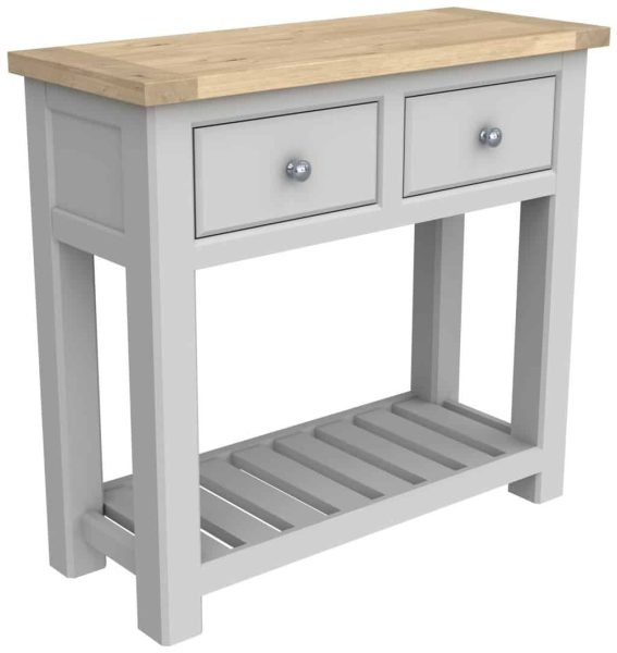 Bretagne Painted 2 Drawer Console Table With Shelf | Fully Assembled