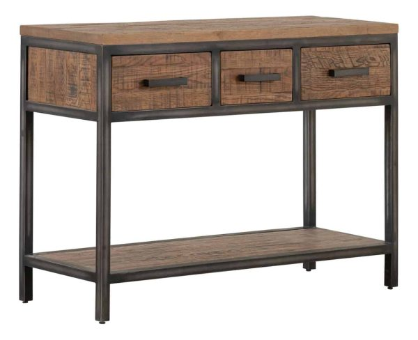 Besp-Oak Forge Iron and Old Oak Hall Table with 3 Drawers & Oak Shelf | Fully Assembled