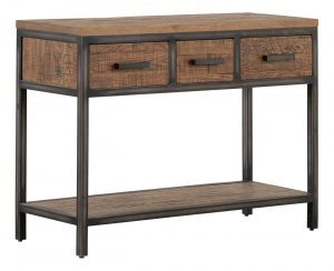 Besp-Oak Forge Iron and Old Oak Hall Table with 3 Drawers & Oak Shelf