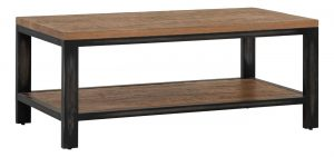 Besp-Oak Forge Iron and Old Oak Coffee Table With Shelf
