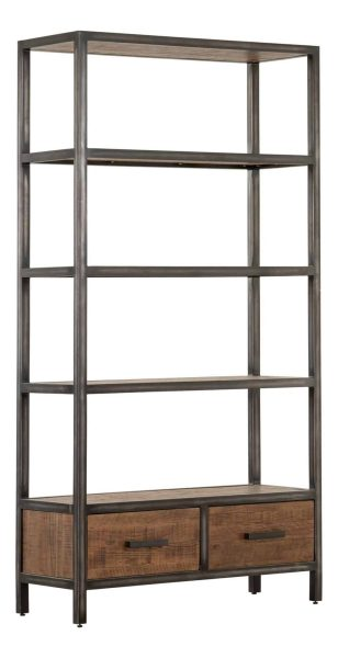 Besp-Oak Forge Iron and Old Oak Bookcase with 2 Drawers | Fully Assembled
