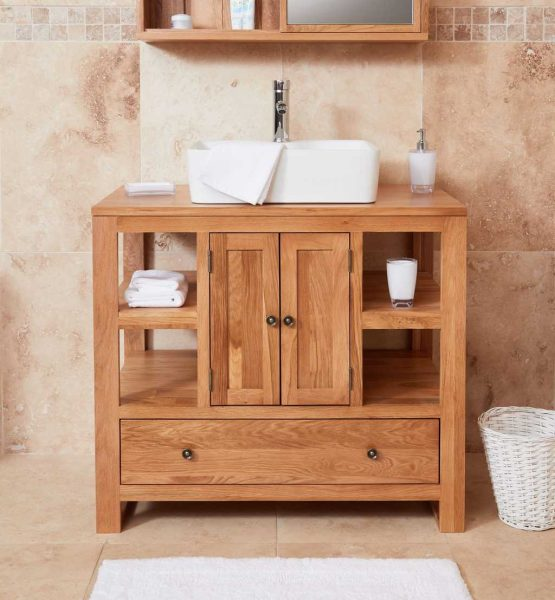 Baumhaus Mobel Oak Bathroom Collection – Solid Oak Two Door Single Sink Unit (Square)