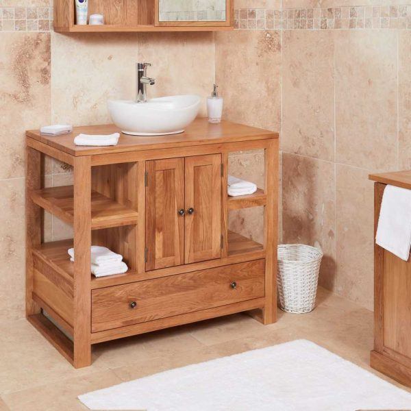 Baumhaus Mobel Oak Bathroom Collection – Solid Oak Two Door Single Sink Unit (Round)