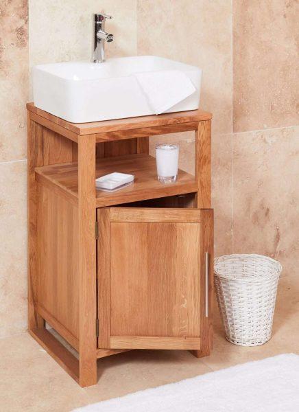 Baumhaus Mobel Oak Bathroom Collection – Solid Oak Single Door Sink Unit (Square)