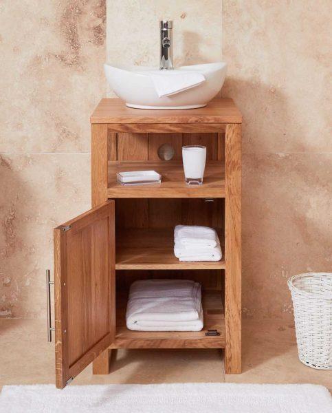 Baumhaus Mobel Oak Bathroom Collection – Solid Oak Single Door Sink Unit (Round)