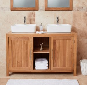 Baumhaus Mobel Oak Bathroom Collection – Solid Oak Dual Sink Unit with Two Doors (Square)