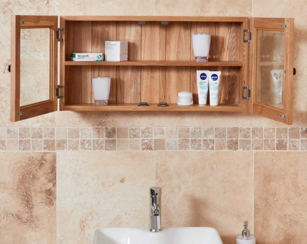 Baumhaus Mobel Oak Bathroom Collection – Solid Oak Glass Double Door Cabinet