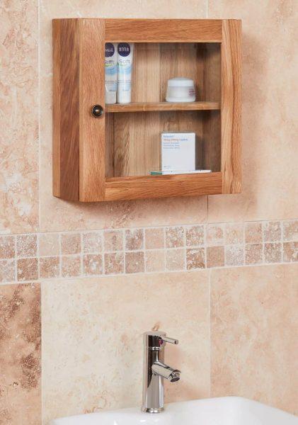 Baumhaus Mobel Oak Bathroom Collection – Solid Oak Glass Single Door Cabinet