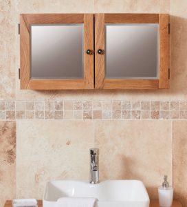 Baumhaus Mobel Oak Bathroom Collection – Solid Oak Mirrored Double Door Cabinet