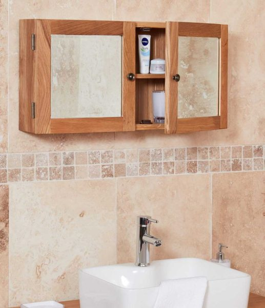 Baumhaus Mobel Oak Bathroom Collection – Solid Oak Mirrored Double Door Cabinet