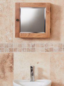 Baumhaus Mobel Oak Bathroom Collection – Solid Oak Mirrored Single Door Cabinet