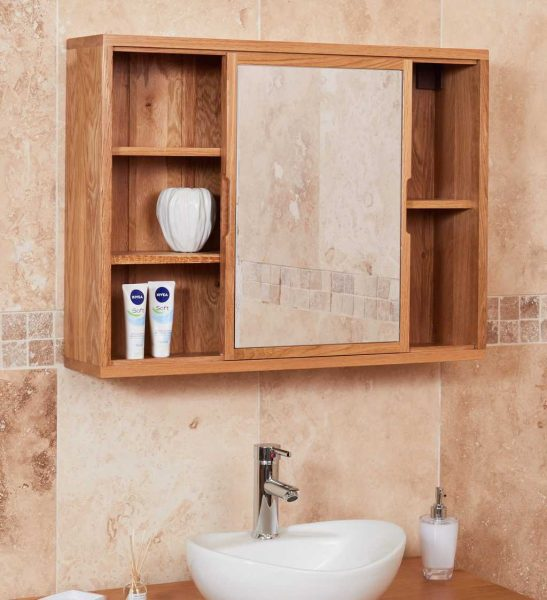 Baumhaus Mobel Oak Bathroom Collection – Solid Oak Mirrored wall shelf unit