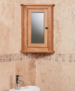 Baumhaus Mobel Oak Bathroom Collection – Solid Oak Mirrored Corner Wall Cabinet