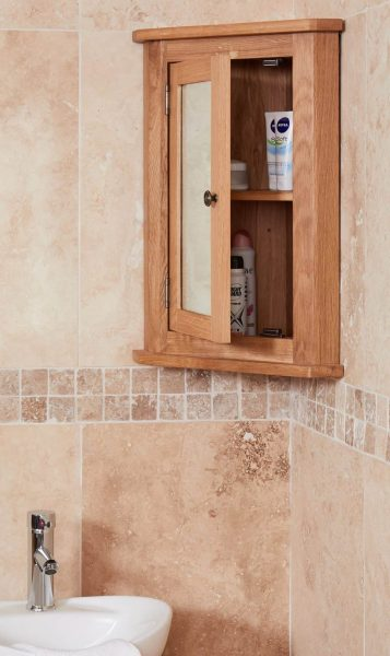 Baumhaus Mobel Oak Bathroom Collection – Solid Oak Mirrored Corner Wall Cabinet