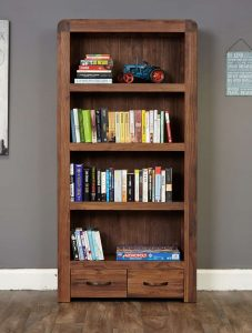 Baumhaus Shiro Solid Walnut Large 2 Drawer Bookcase with 4 Shelves | Fully Assembled