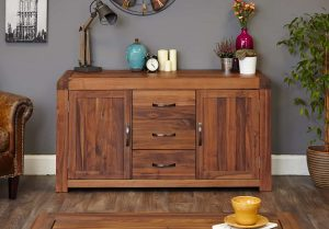 Baumhaus Shiro Solid Walnut 2 Door 3 Drawer Large Sideboard | Fully Assembled