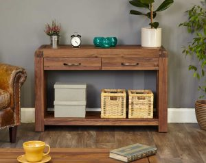 Baumhaus Shiro Solid Walnut Console Table with 2 Drawers & Shelf | Fully Assembled