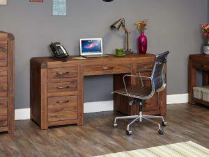 Baumhaus Shiro Solid Walnut Twin Pedestal Computer Desk | Fully Assembled