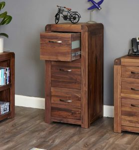 Baumhaus Shiro Solid Walnut 3 Drawer Filing Cabinet | Fully Assembled