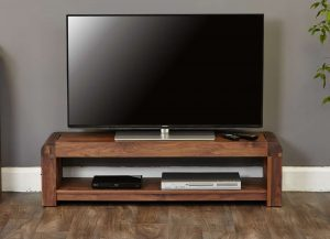 Baumhaus Shiro Solid Walnut Low TV Cabinet | Fully Assembled