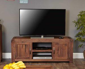 Baumhaus Shiro Solid Walnut Widescreen TV Cabinet | Fully Assembled