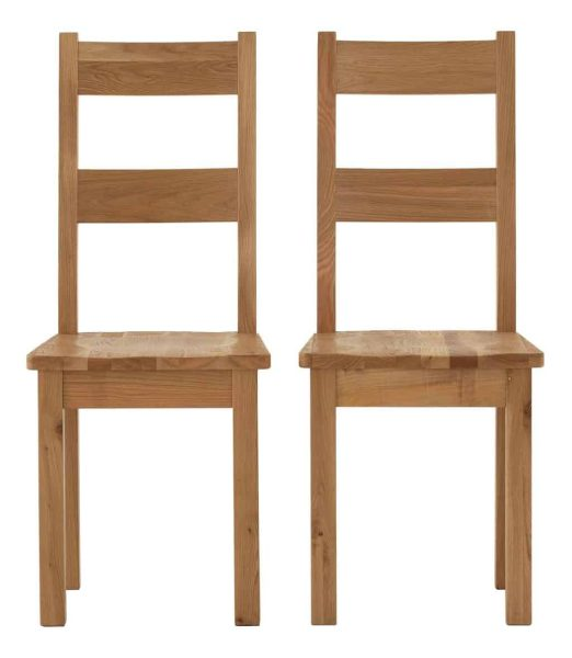 Besp-Oak Vancouver Sawn Oak Dining Chair with Wooden Seat (Pack of 2 Chairs)   Fully Assembled