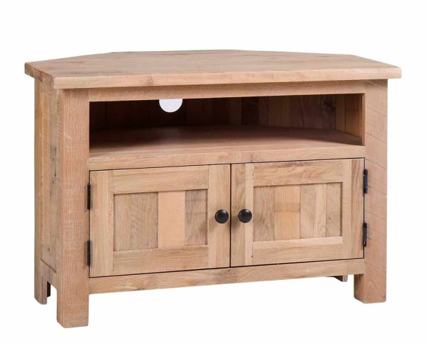 Besp-Oak Vancouver Sawn White Wash Oak Corner TV Unit | Fully Assembled