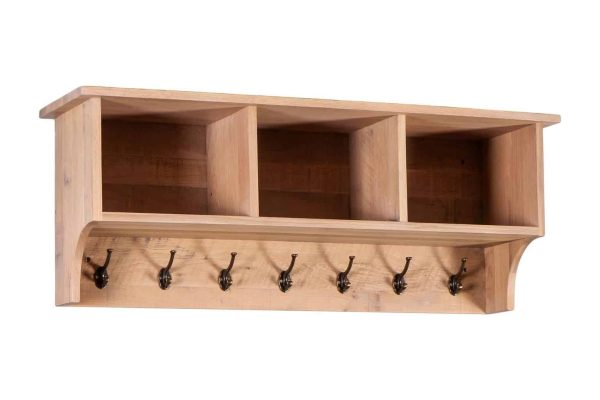 Besp-Oak Vancouver Sawn White Wash Oak Coat Rack with Shelves | Fully Assembled