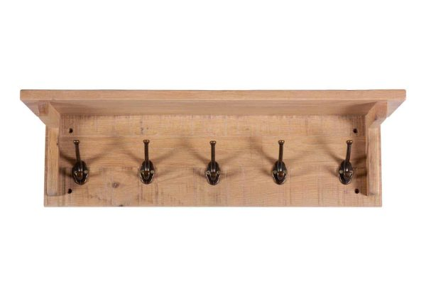Besp-Oak Vancouver Sawn White Wash Oak Coat Rack with 5 Hooks | Fully Assembled