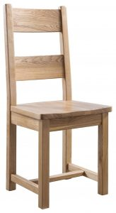 Colorado Oak Farmhouse Dining Chair with Wooden Seat Pad (Pair) – Reduced To Clear
