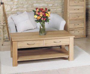 Baumhaus Mobel Oak 4 Drawer Coffee Table