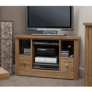 Homestyle Torino Solid Oak 2 Drawer Corner TV   Fully Assembled