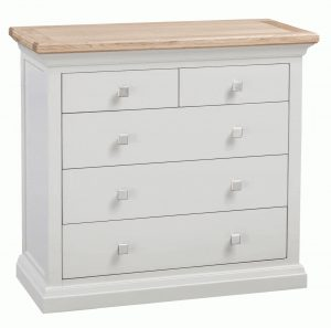 Homestyle Cotswold Grey With Oak Top 3 + 2 Drawer Chest | Fully Assembled