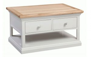 Homestyle Cotswold Grey With Oak Top 2 Drawer Coffee Table With Shelf | Fully Assembled
